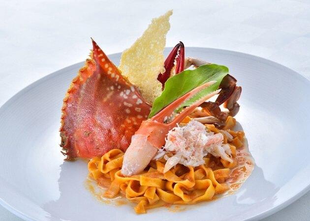 神戸イタリアン KIZUNAのカスミが二と渡り蟹のカニカニ パスタ