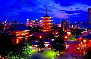 東京 浅草 五重塔 ライトアップ